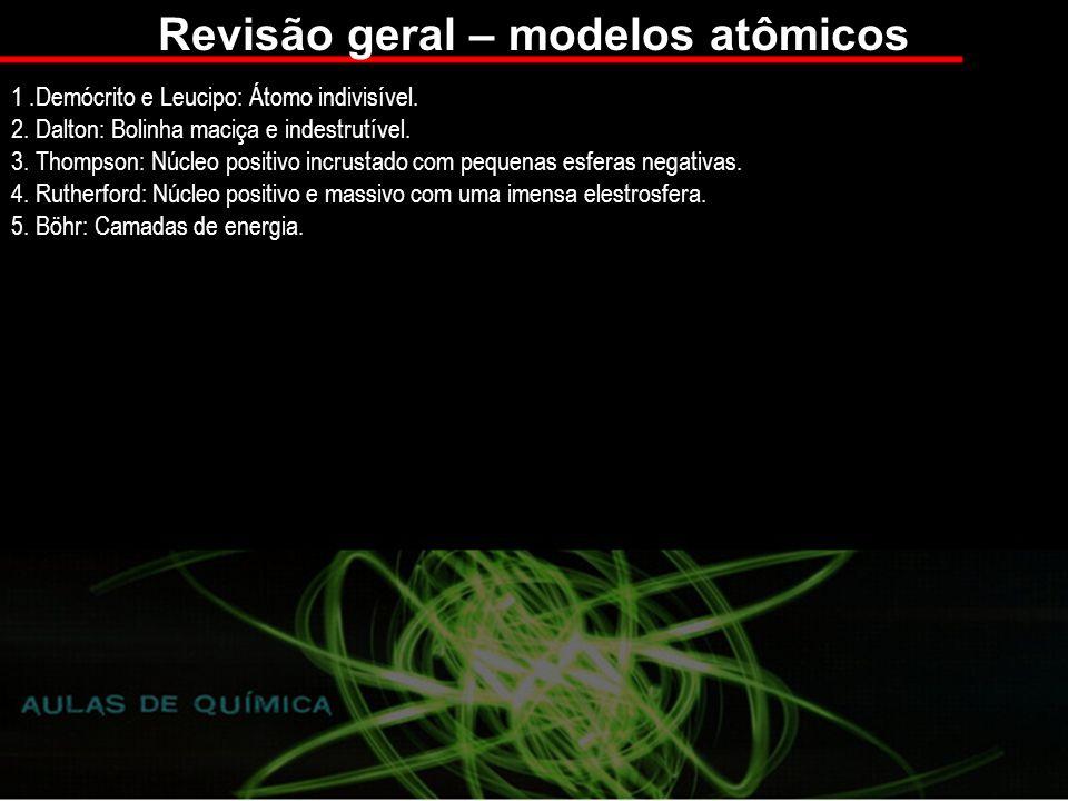 Revisão geral – modelos atômicos 1.Demócrito e Leucipo: Átomo indivisível.