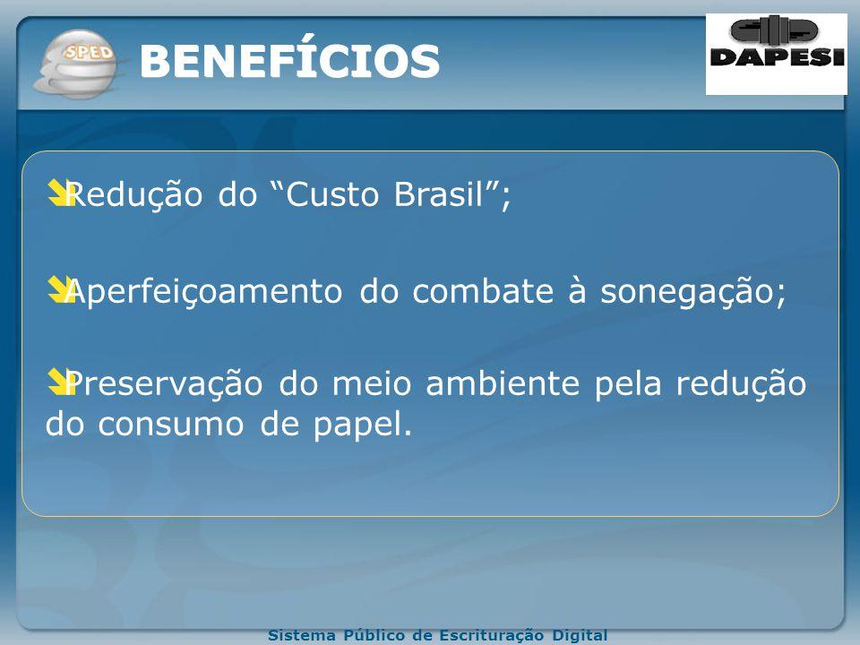 Sistema Público de Escrituração Digital Redução de custos administrativos ; Melhoria da qualidade da informação; Possibilidade de cruzamento entre os