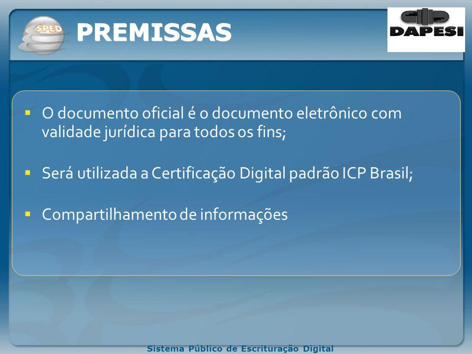 Sistema Público de Escrituração Digital PREMISSAS O documento oficial é o documento eletrônico com validade jurídica para todos os fins; Será utilizada a Certificação Digital padrão ICP Brasil; Compartilhamento de informações