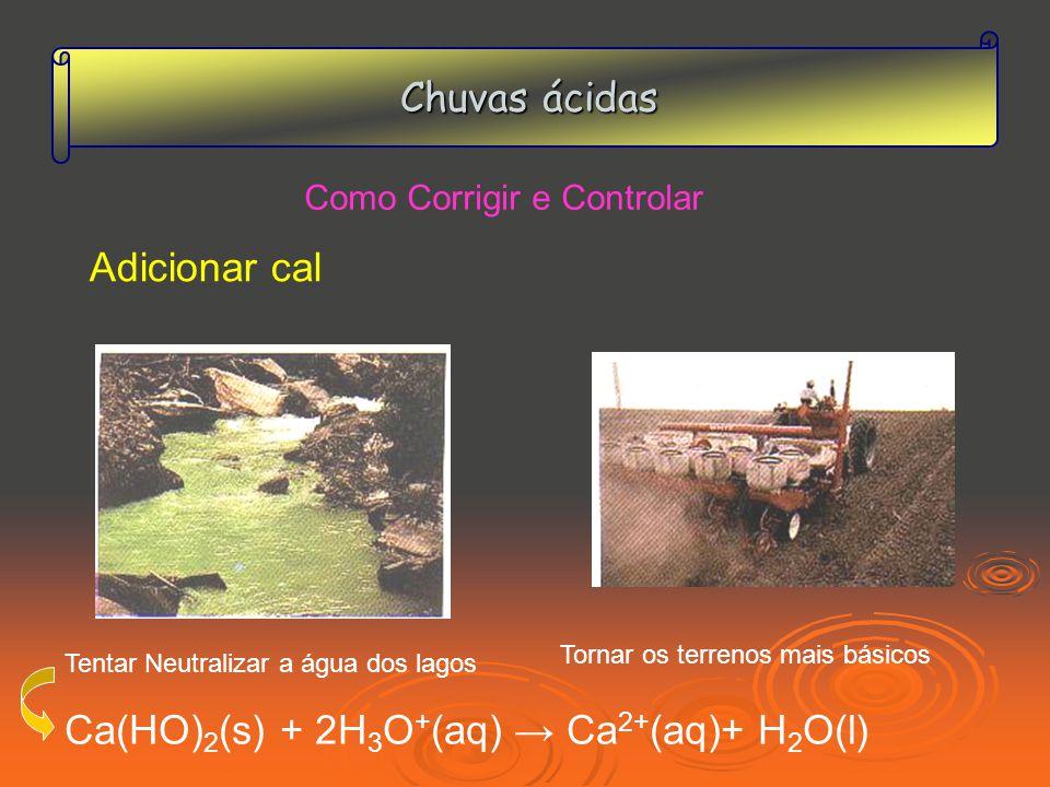 Chuvas ácidas Como Corrigir e Controlar Adicionar cal Ca(HO) 2 (s) + 2H 3 O + (aq) Ca 2+ (aq)+ H 2 O(l) Tentar Neutralizar a água dos lagos Tornar os terrenos mais básicos