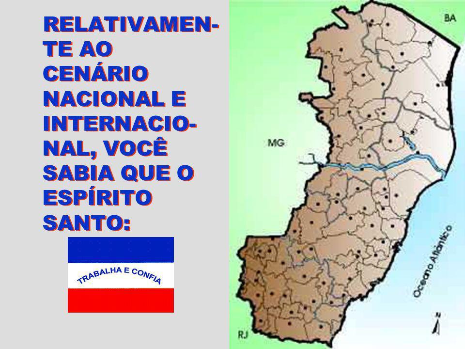 RELATIVAMEN- TE AO CENÁRIO NACIONAL E INTERNACIO- NAL, VOCÊ SABIA QUE O ESPÍRITO SANTO: