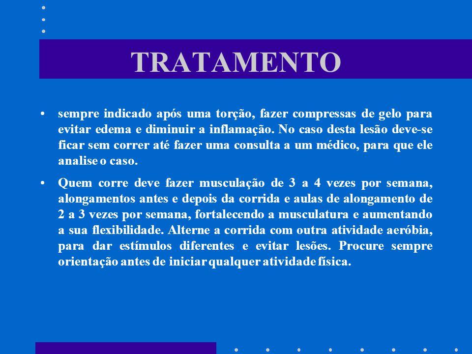 TRATAMENTO sempre indicado após uma torção, fazer compressas de gelo para evitar edema e diminuir a inflamação. No caso desta lesão deve-se ficar sem