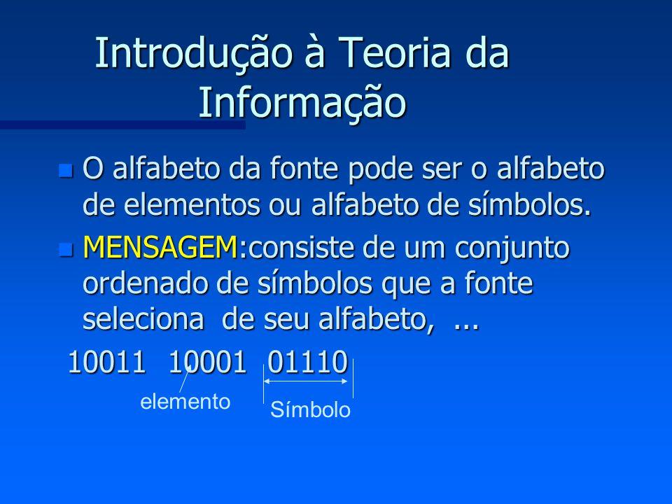 Introdução à Teoria da Informação n O alfabeto da fonte pode ser o alfabeto de elementos ou alfabeto de símbolos. n MENSAGEM:consiste de um conjunto o