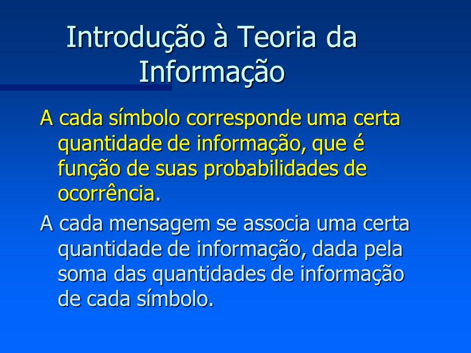 Introdução à Teoria da Informação A cada símbolo corresponde uma certa quantidade de informação, que é função de suas probabilidades de ocorrência. A