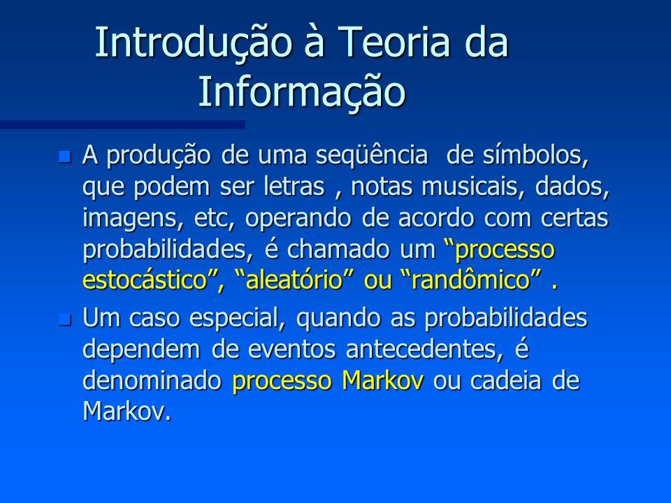 Introdução à Teoria da Informação n A produção de uma seqüência de símbolos, que podem ser letras, notas musicais, dados, imagens, etc, operando de ac
