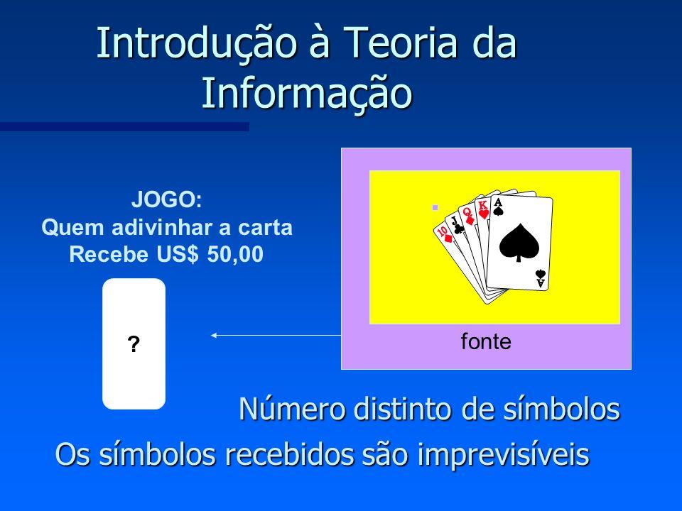 fonte Introdução à Teoria da Informação Número distinto de símbolos Os símbolos recebidos são imprevisíveis JOGO: Quem adivinhar a carta Recebe US$ 50