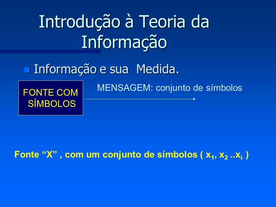 Introdução à Teoria da Informação n Informação e sua Medida. FONTE COM SÍMBOLOS MENSAGEM: conjunto de símbolos Fonte X, com um conjunto de símbolos (