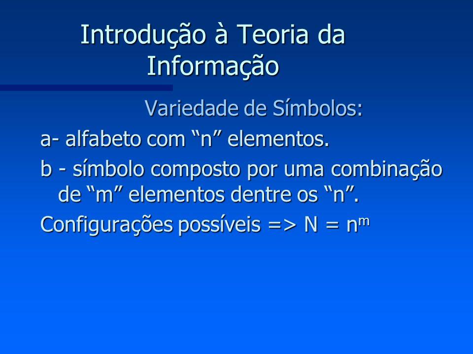 Introdução à Teoria da Informação Variedade de Símbolos: a- alfabeto com n elementos. b - símbolo composto por uma combinação de m elementos dentre os
