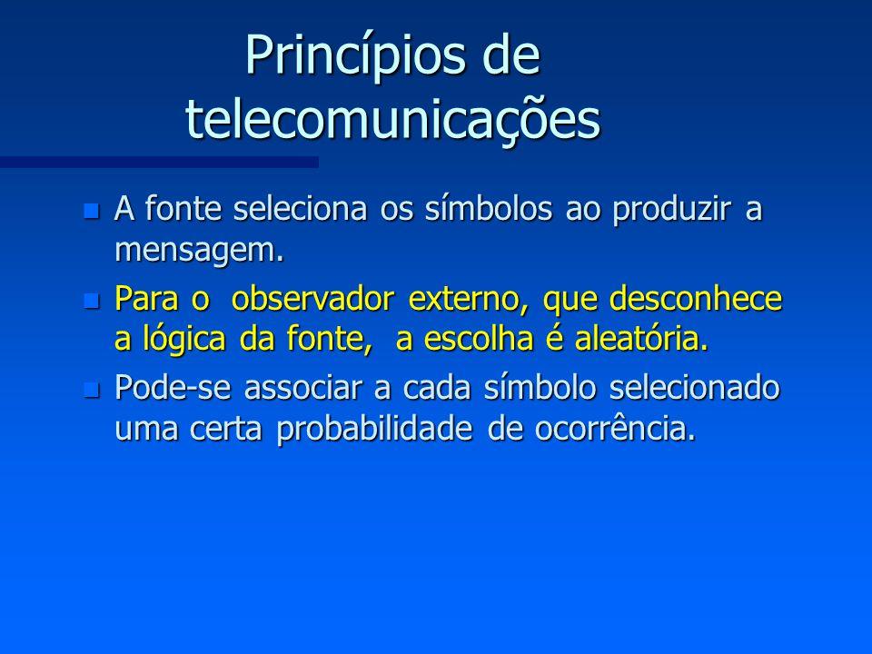 Princípios de telecomunicações n A fonte seleciona os símbolos ao produzir a mensagem. n Para o observador externo, que desconhece a lógica da fonte,