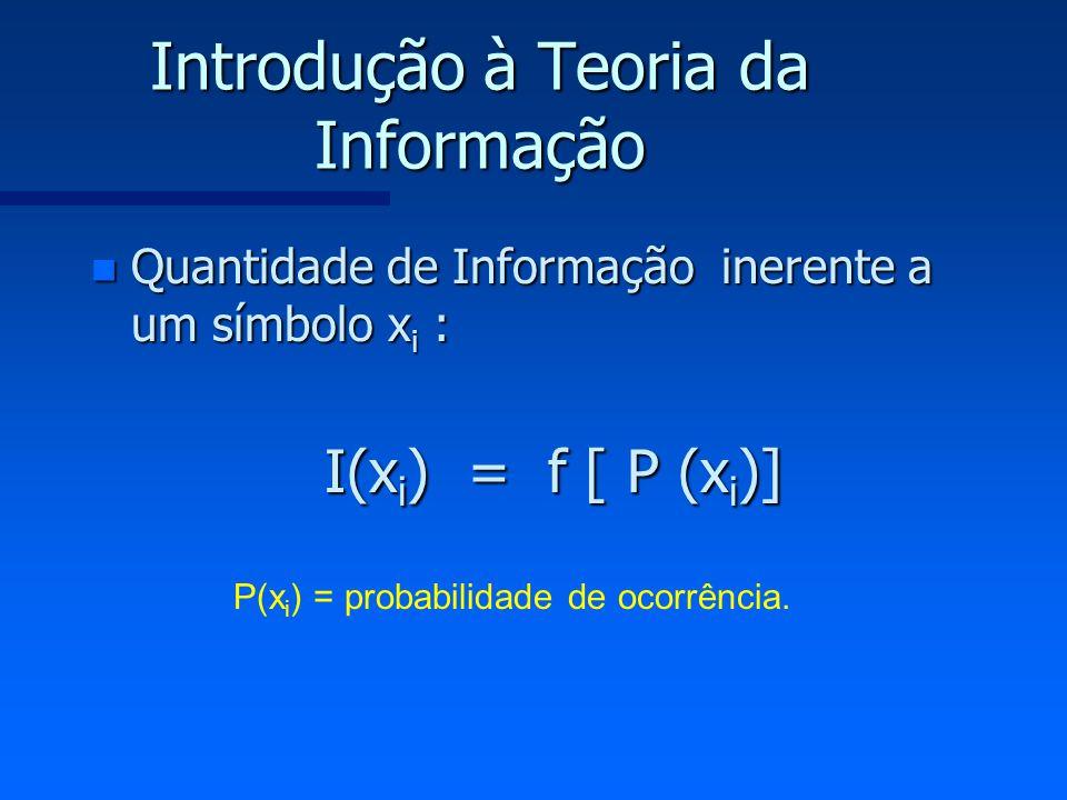 Introdução à Teoria da Informação n Quantidade de Informação inerente a um símbolo x i : I(x i ) = f [ P (x i )] P(x i ) = probabilidade de ocorrência