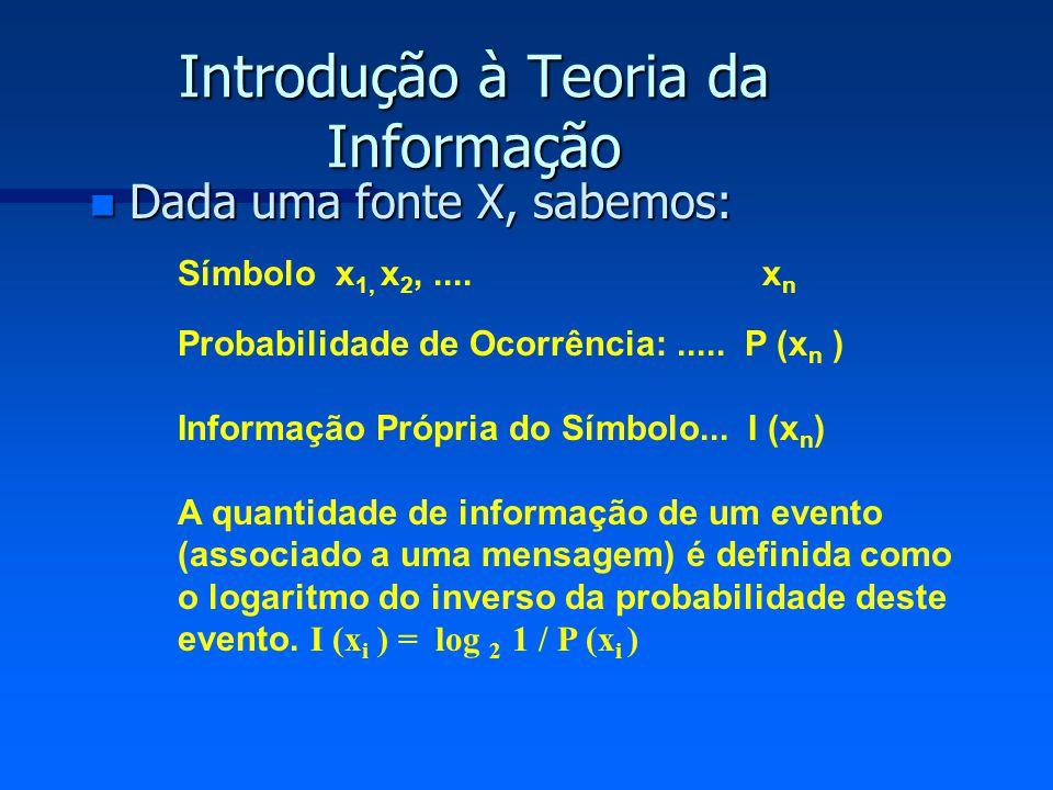 Introdução à Teoria da Informação n Dada uma fonte X, sabemos: Símbolo x 1, x 2,.... x n Probabilidade de Ocorrência:..... P (x n ) Informação Própria