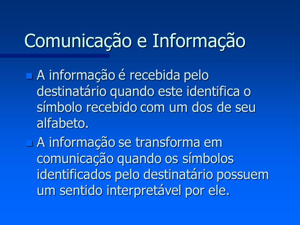Comunicação e Informação n A informação é recebida pelo destinatário quando este identifica o símbolo recebido com um dos de seu alfabeto. n A informa