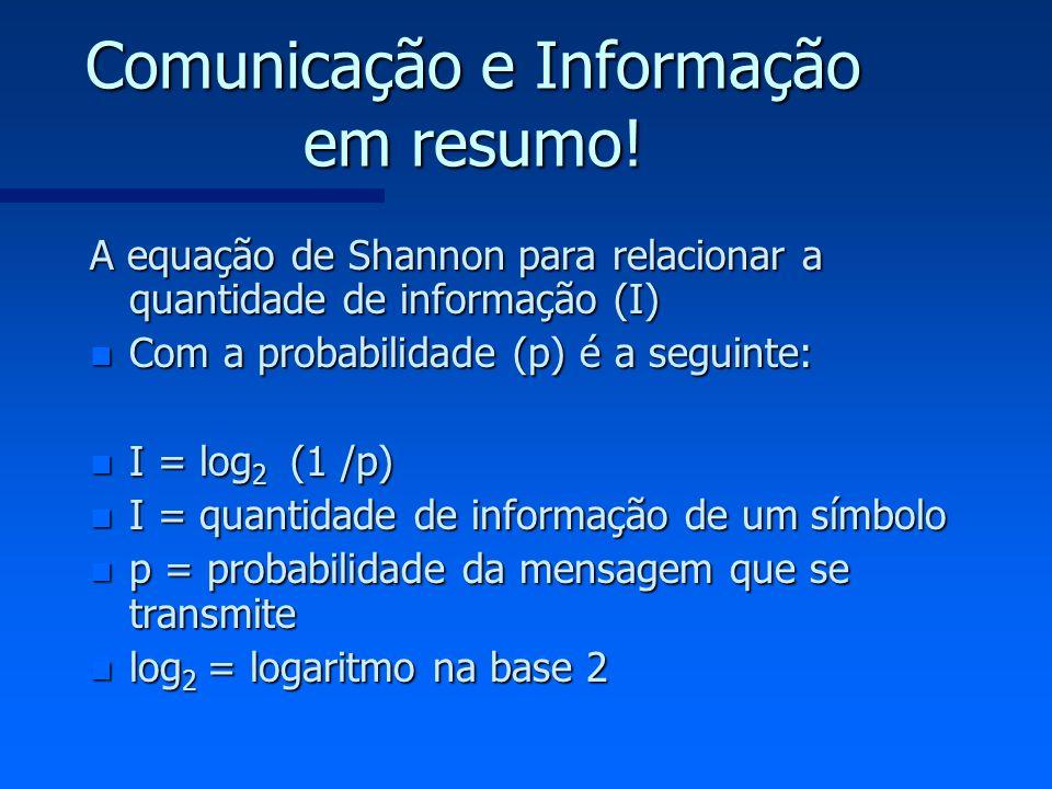 Comunicação e Informação em resumo! A equação de Shannon para relacionar a quantidade de informação (I) n Com a probabilidade (p) é a seguinte: n I =