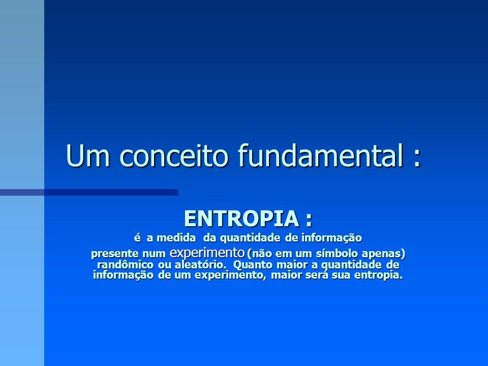 Um conceito fundamental : ENTROPIA : é a medida da quantidade de informação presente num experimento (não em um símbolo apenas) randômico ou aleatório