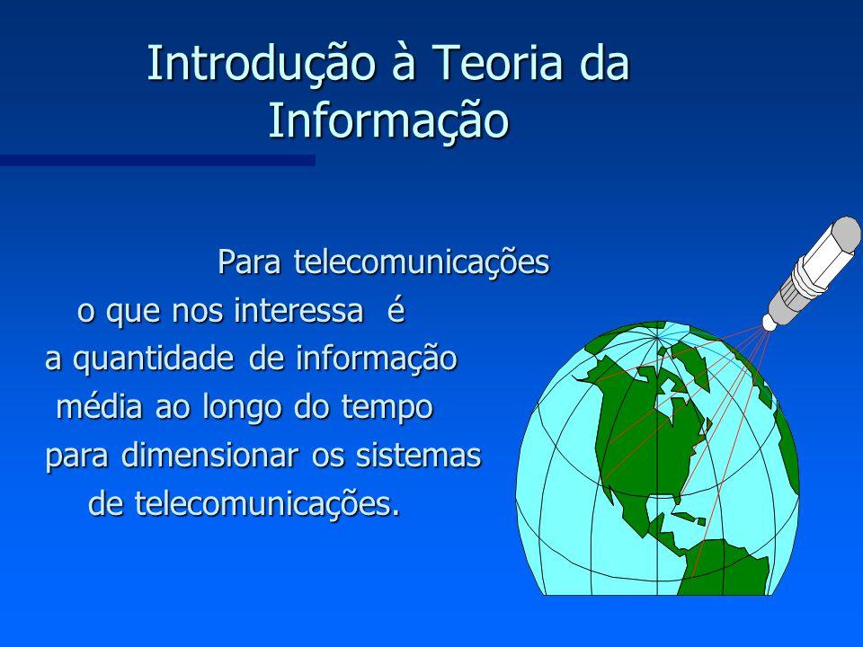 Introdução à Teoria da Informação Para telecomunicações o que nos interessa é a quantidade de informação média ao longo do tempo média ao longo do tem