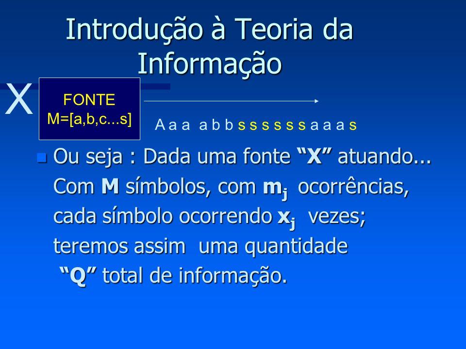 Introdução à Teoria da Informação n Ou seja : Dada uma fonte X atuando... Com M símbolos, com m j ocorrências, cada símbolo ocorrendo x j vezes; terem