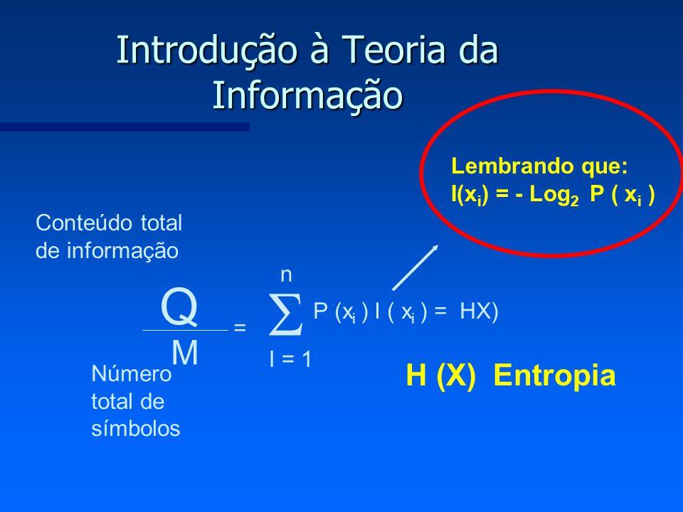 Introdução à Teoria da Informação Q M = P (x i ) I ( x i ) = HX) I = 1 n H (X) Entropia Lembrando que: I(x i ) = - Log 2 P ( x i ) Conteúdo total de i
