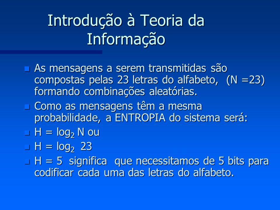 Introdução à Teoria da Informação n As mensagens a serem transmitidas são compostas pelas 23 letras do alfabeto, (N =23) formando combinações aleatóri