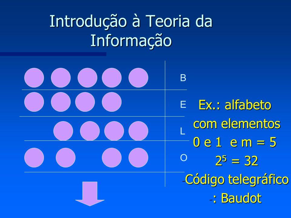 Introdução à Teoria da Informação B E L O Ex.: alfabeto com elementos com elementos 0 e 1 e m = 5 0 e 1 e m = 5 2 5 = 32 2 5 = 32 - Código telegráfico
