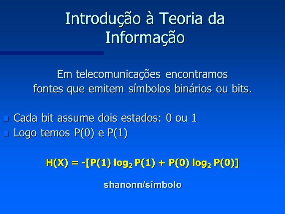 Introdução à Teoria da Informação Em telecomunicações encontramos fontes que emitem símbolos binários ou bits. n Cada bit assume dois estados: 0 ou 1