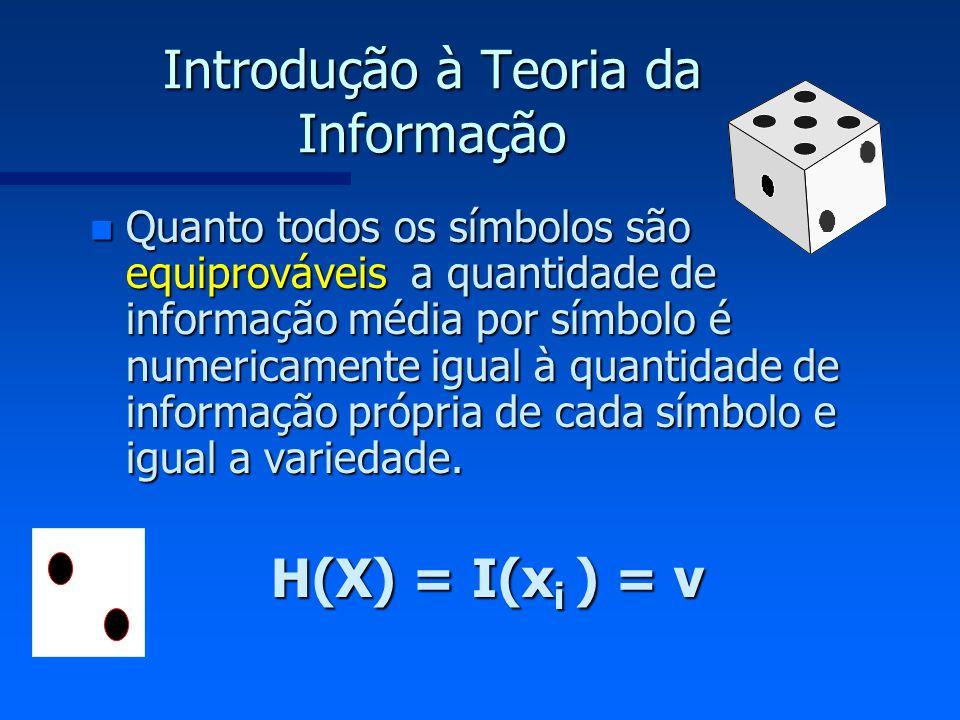 Introdução à Teoria da Informação n Quanto todos os símbolos são equiprováveis a quantidade de informação média por símbolo é numericamente igual à qu