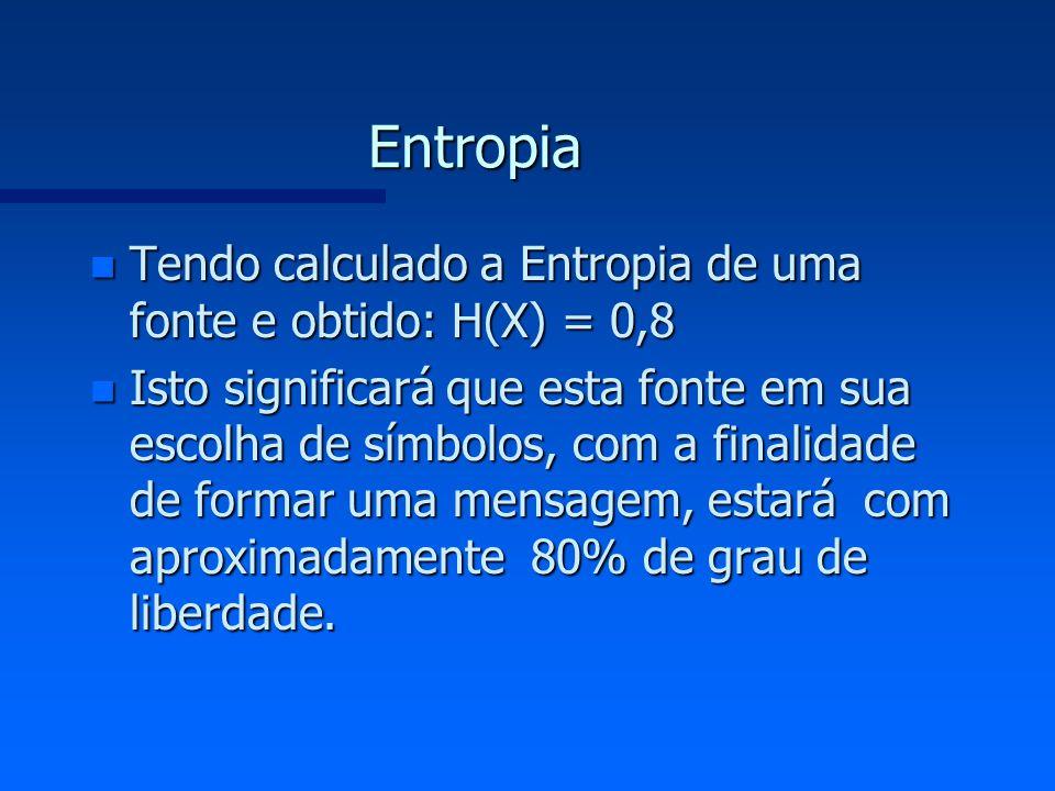 Entropia n Tendo calculado a Entropia de uma fonte e obtido: H(X) = 0,8 n Isto significará que esta fonte em sua escolha de símbolos, com a finalidade