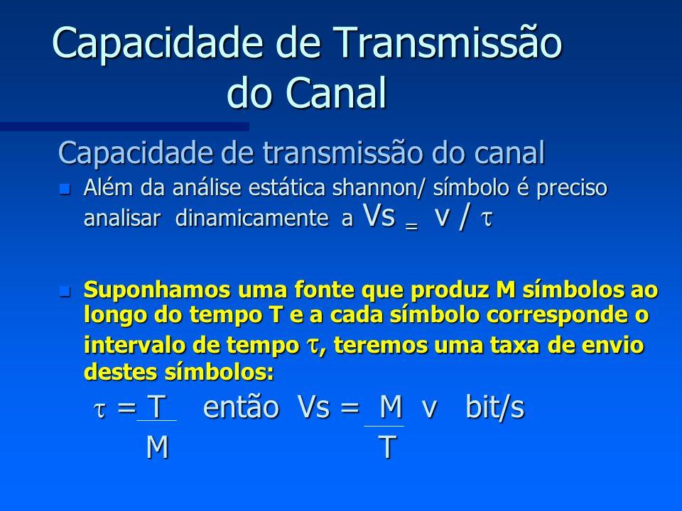 Capacidade de Transmissão do Canal Capacidade de transmissão do canal n Além da análise estática shannon/ símbolo é preciso analisar dinamicamente a V