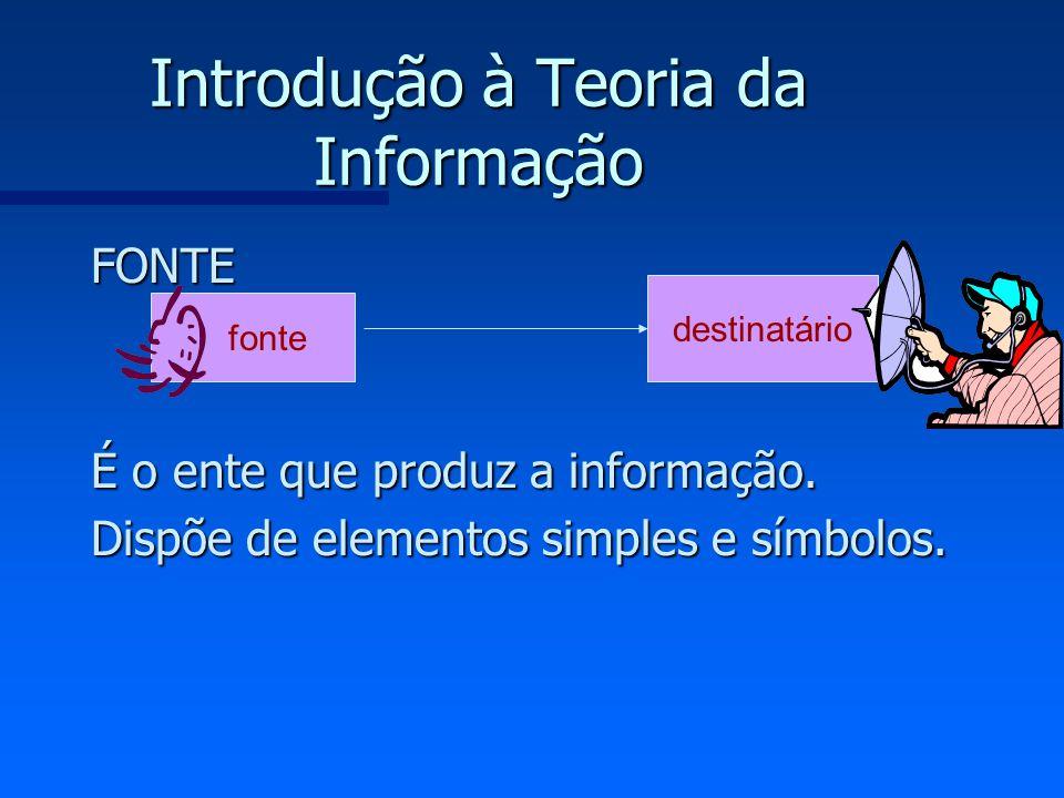 Introdução à Teoria da Informação FONTE É o ente que produz a informação. Dispõe de elementos simples e símbolos. fonte destinatário