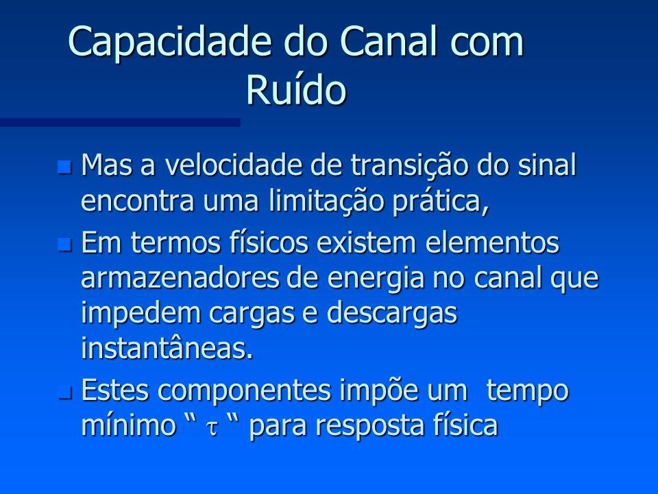 Capacidade do Canal com Ruído n Mas a velocidade de transição do sinal encontra uma limitação prática, n Em termos físicos existem elementos armazenad