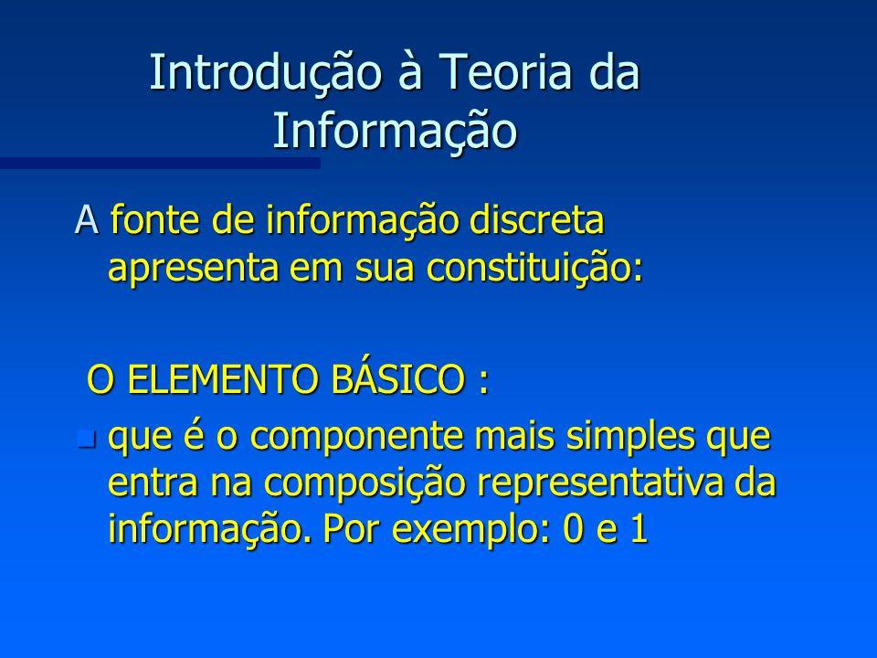 Introdução à Teoria da Informação n O SÍMBOLO : que é formado por um conjunto ordenado de elementos.