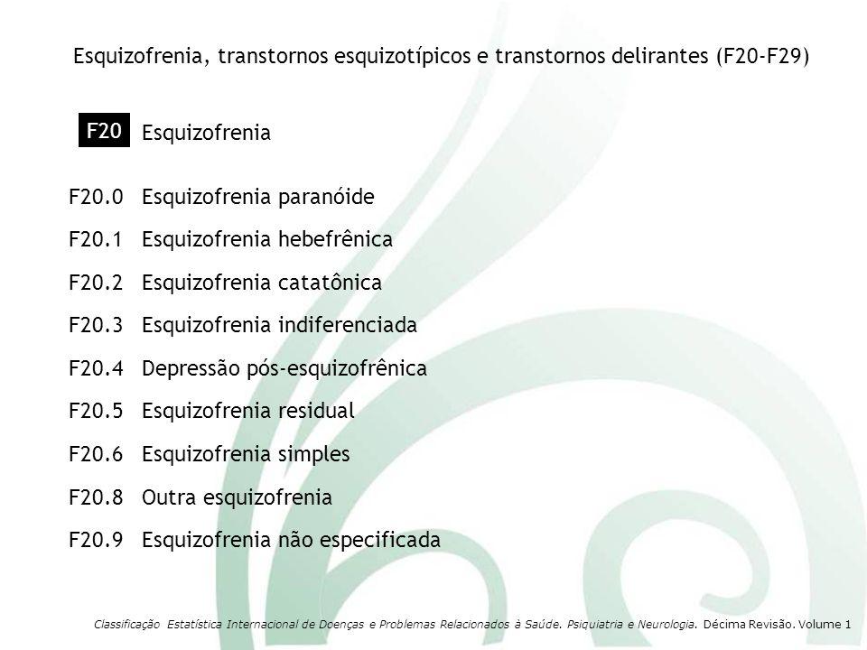 Transtorno esquizotípico Transtorno delirante persistente não especificadoF22.9 Outros transtornos delirantes persistentesF22.8 Transtorno deliranteF22.0 F21 Classificação Estatística Internacional de Doenças e Problemas Relacionados à Saúde.