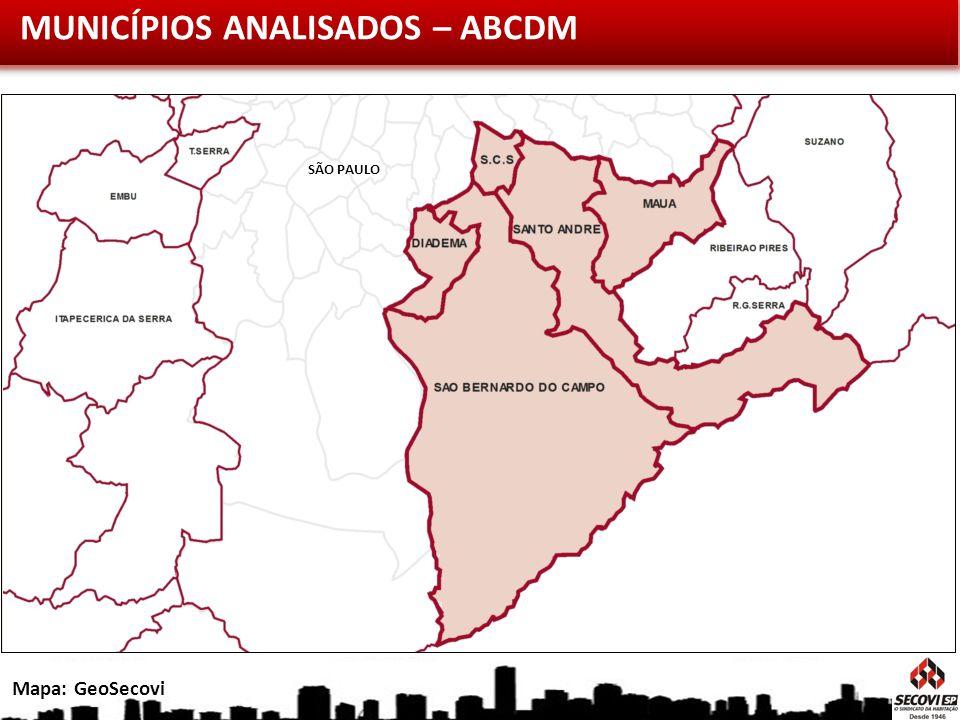 MUNICÍPIOS ANALISADOS – ABCDM Mapa: GeoSecovi SÃO PAULO