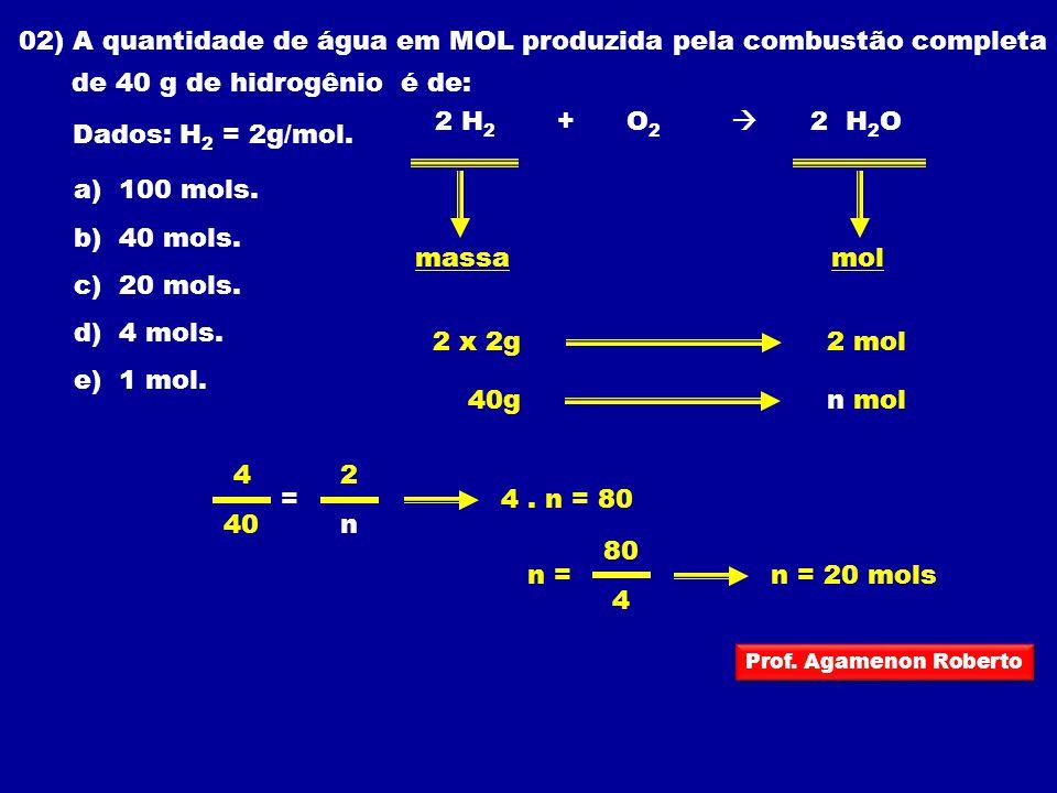 02) A quantidade de água em MOL produzida pela combustão completa de 40 g de hidrogênio é de: Dados: H 2 = 2g/mol. 2 H 2 + O 2 2 H 2 O a) 100 mols. b)