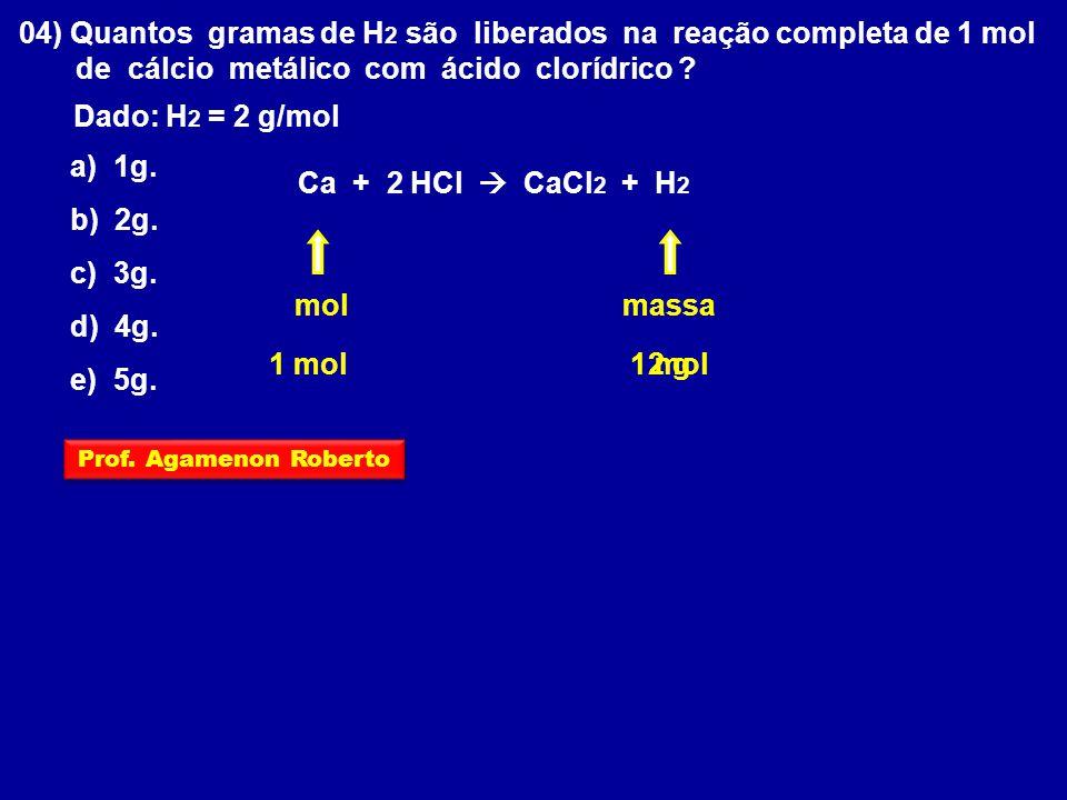 04) Quantos gramas de H 2 são liberados na reação completa de 1 mol de cálcio metálico com ácido clorídrico ? Dado: H 2 = 2 g/mol Ca + 2 HCl CaCl 2 +