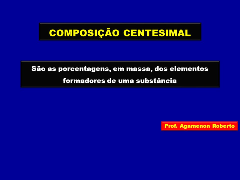 COMPOSIÇÃO CENTESIMAL São as porcentagens, em massa, dos elementos formadores de uma substância Prof. Agamenon Roberto