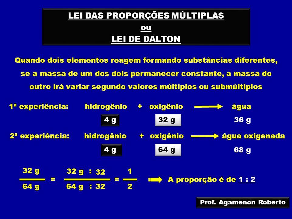 LEI DAS PROPORÇÕES MÚLTIPLAS ou LEI DE DALTON LEI DAS PROPORÇÕES MÚLTIPLAS ou LEI DE DALTON 4 g 64 g 68 g hidrogêniooxigênioágua + 1ª experiência: 4 g