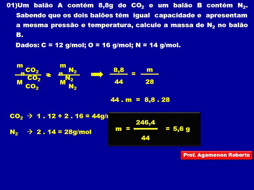 01)Um balão A contém 8,8g de CO 2 e um balão B contém N 2. Sabendo que os dois balões têm igual capacidade e apresentam a mesma pressão e temperatura,