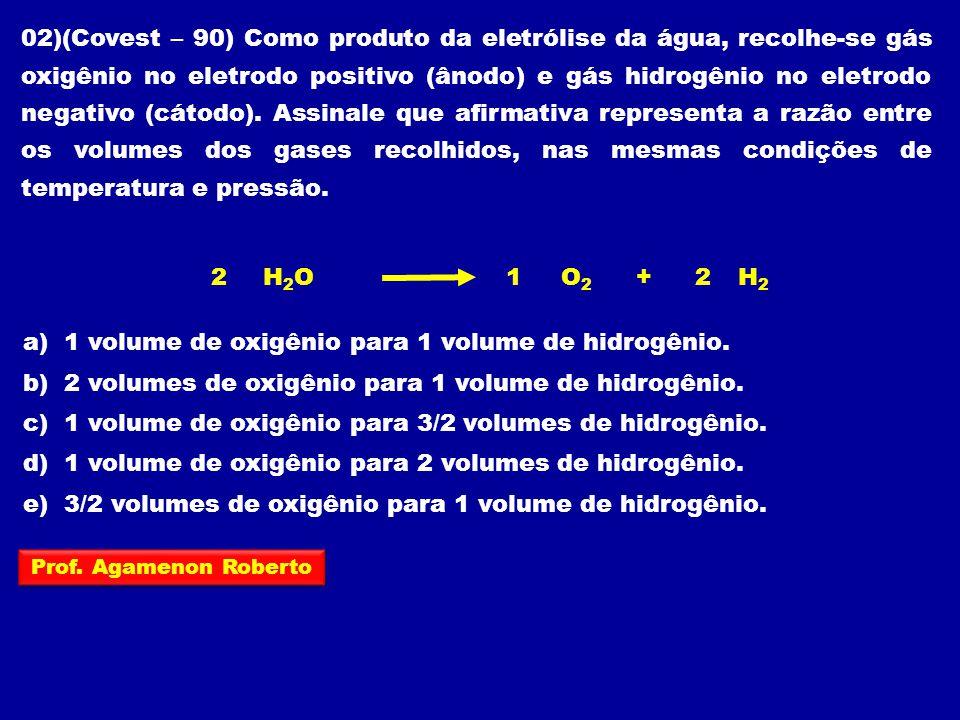 02)(Covest – 90) Como produto da eletrólise da água, recolhe-se gás oxigênio no eletrodo positivo (ânodo) e gás hidrogênio no eletrodo negativo (cátod