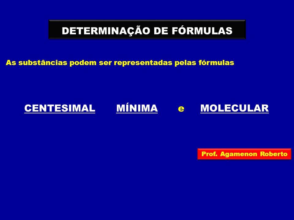 DETERMINAÇÃO DE FÓRMULAS As substâncias podem ser representadas pelas fórmulas CENTESIMALMÍNIMA MOLECULAR e Prof. Agamenon Roberto