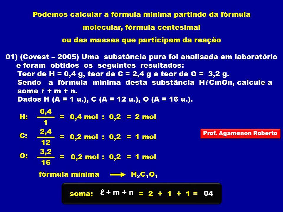 Podemos calcular a fórmula mínima partindo da fórmula molecular, fórmula centesimal ou das massas que participam da reação 01) (Covest – 2005) Uma sub