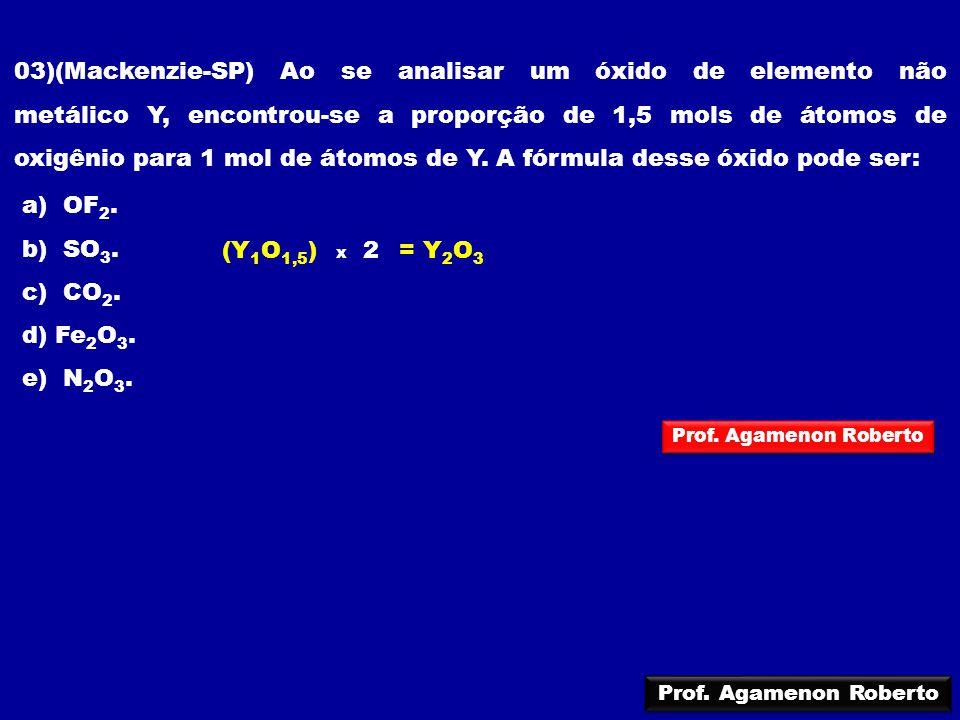 03)(Mackenzie-SP) Ao se analisar um óxido de elemento não metálico Y, encontrou-se a proporção de 1,5 mols de átomos de oxigênio para 1 mol de átomos