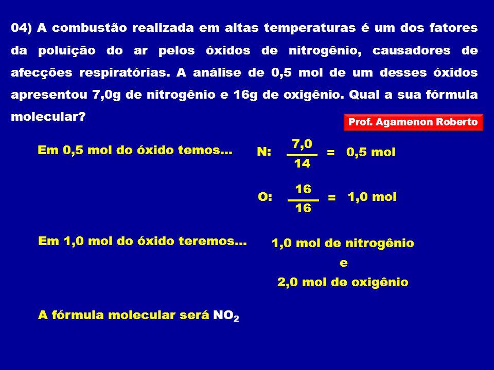 04) A combustão realizada em altas temperaturas é um dos fatores da poluição do ar pelos óxidos de nitrogênio, causadores de afecções respiratórias. A