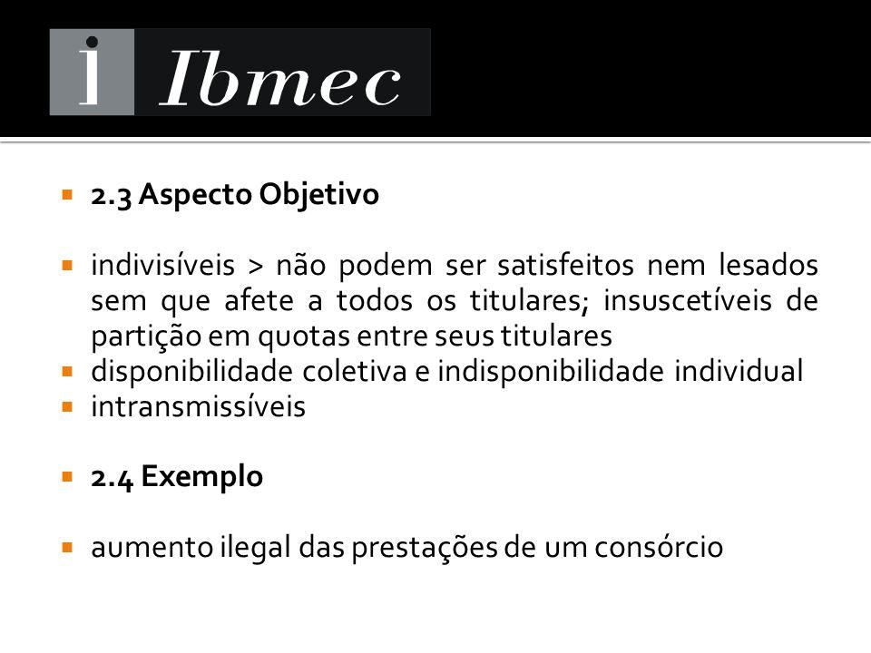 2.3 Aspecto Objetivo indivisíveis > não podem ser satisfeitos nem lesados sem que afete a todos os titulares; insuscetíveis de partição em quotas entr