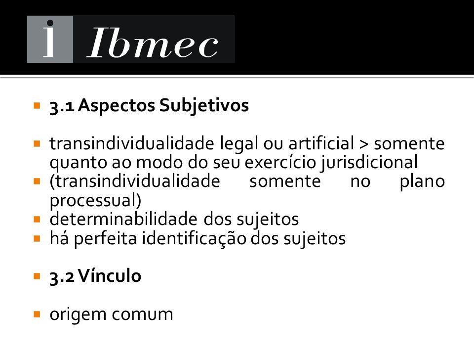 3.1 Aspectos Subjetivos transindividualidade legal ou artificial > somente quanto ao modo do seu exercício jurisdicional (transindividualidade somente