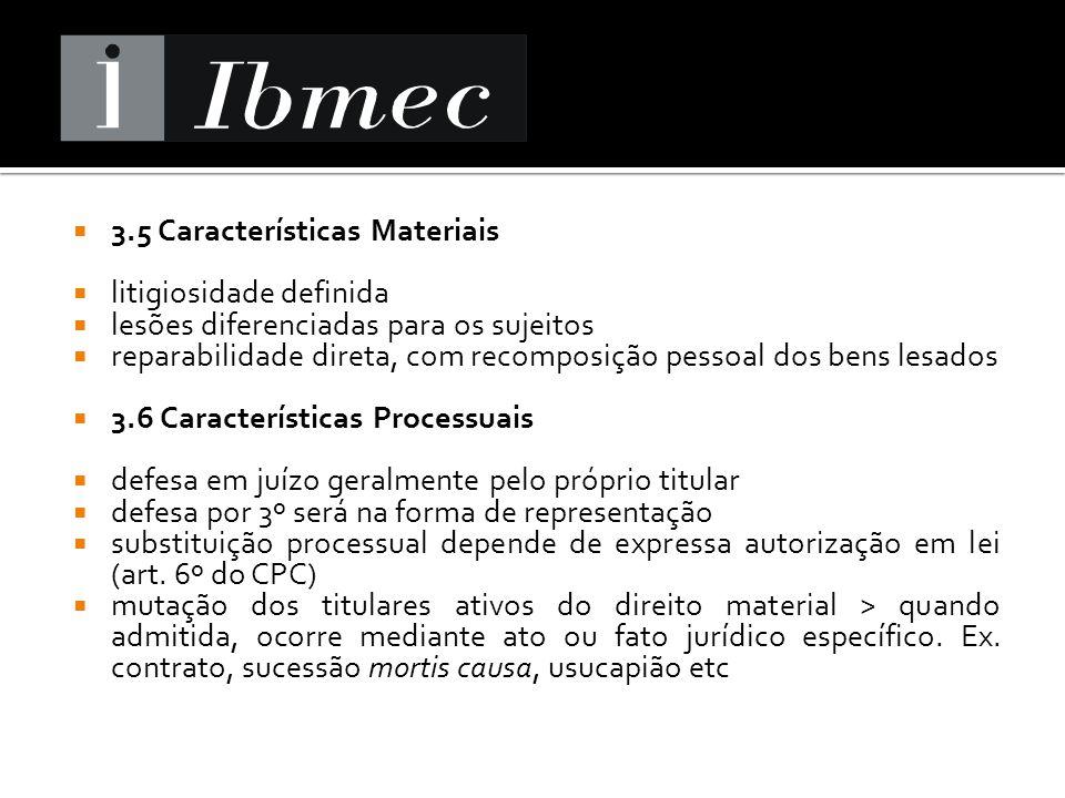 3.5 Características Materiais litigiosidade definida lesões diferenciadas para os sujeitos reparabilidade direta, com recomposição pessoal dos bens le