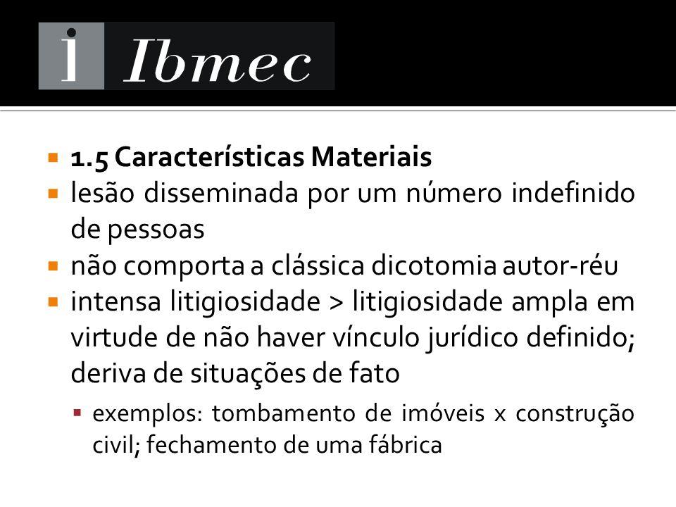1.5 Características Materiais lesão disseminada por um número indefinido de pessoas não comporta a clássica dicotomia autor-réu intensa litigiosidade