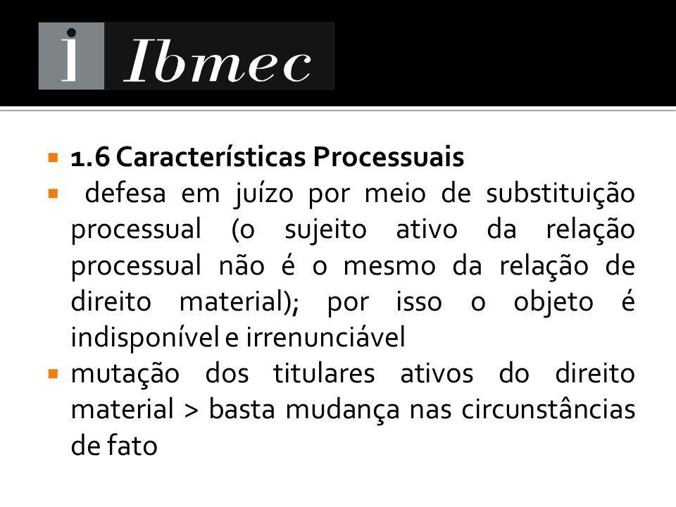 1.6 Características Processuais defesa em juízo por meio de substituição processual (o sujeito ativo da relação processual não é o mesmo da relação de