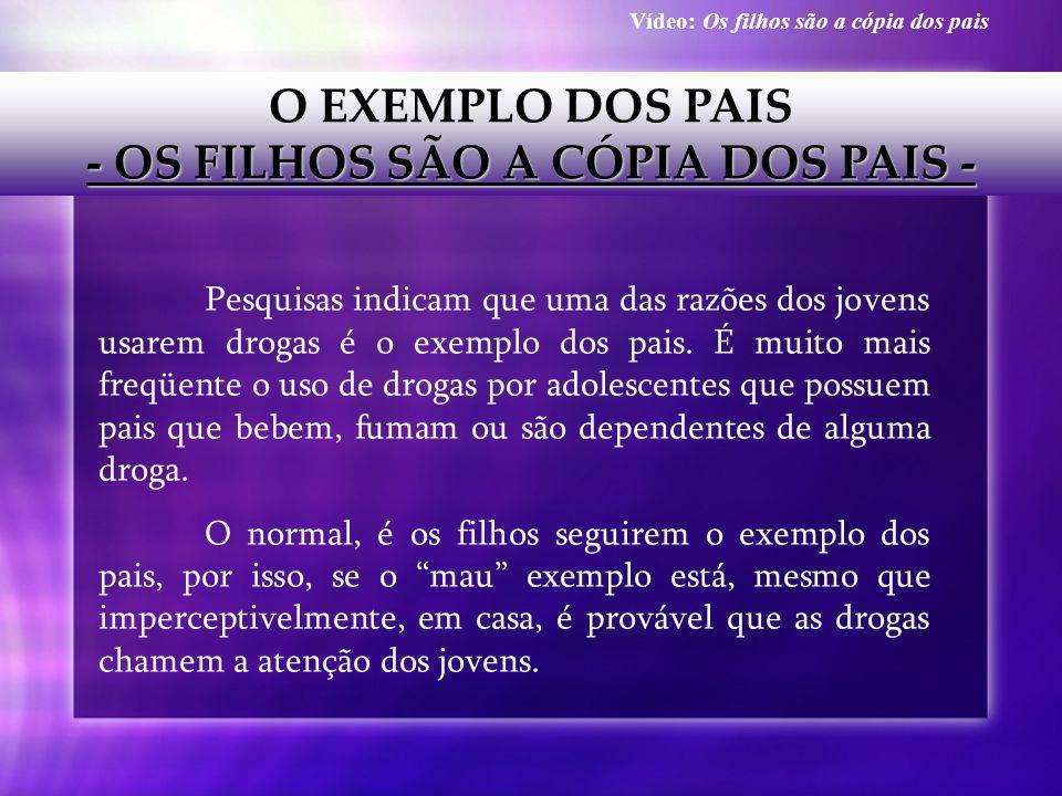 O EXEMPLO DOS PAIS - OS FILHOS SÃO A CÓPIA DOS PAIS - Pesquisas indicam que uma das razões dos jovens usarem drogas é o exemplo dos pais. É muito mais