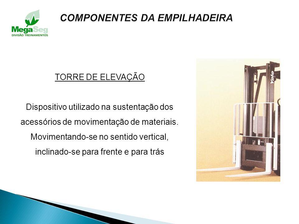 CONTRAPESO Construído de ferro fundido, situa-se na parte traseira, serve para equilibrar a empilhadeira