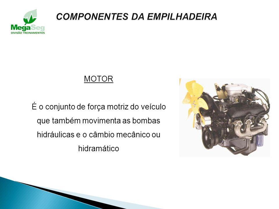 PEDAIS Dispositivos que auxiliam o comando do veículo. EMBREAGEM: Em empilhadeira com câmbio mecânico, serve para desligar o motor do cambio. FREIO: S